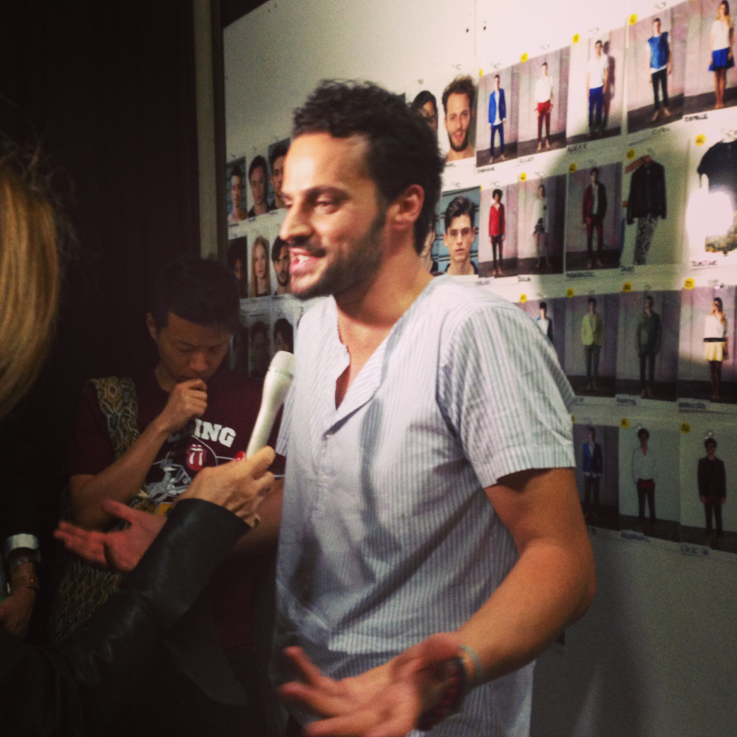 Interviewing Christian Pellizzari backstage after his SS Mens fashion show.