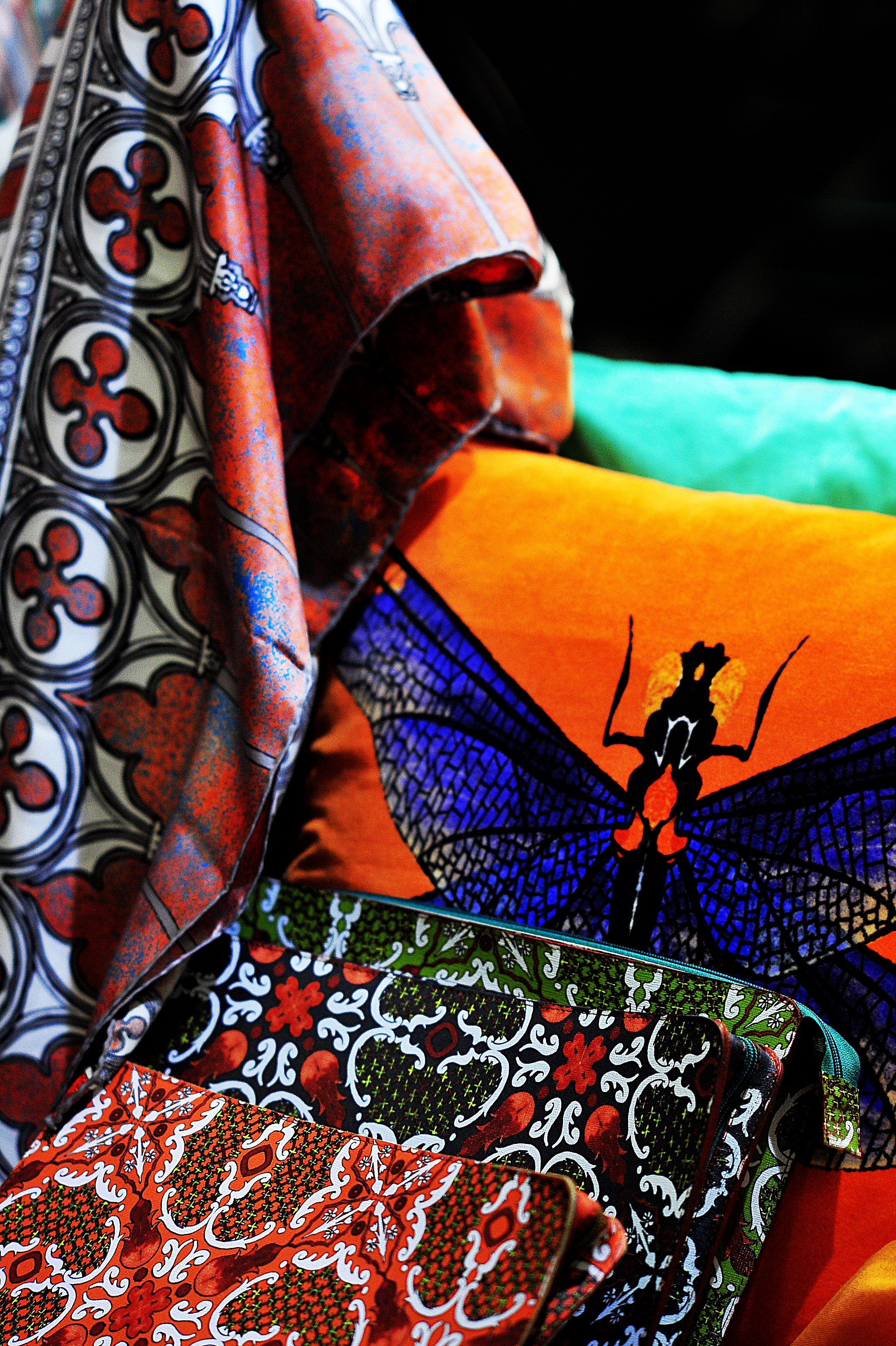 Kinloch scarves made with Como silk and prints painted by designer Marco Kinloch Herbertson <br /> Photo by Silio Danti