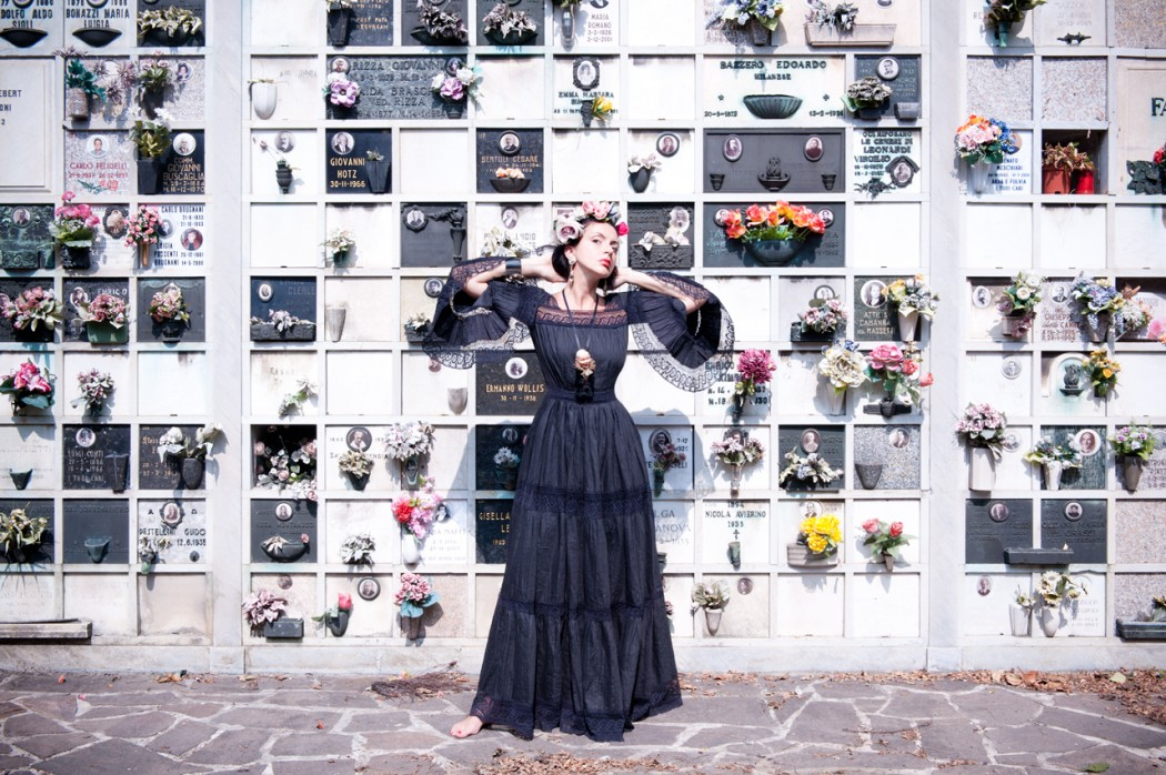 Gaia Petrizzi in a vintage dress from the 1960's. Photo taken at a Catholic cemetery in Milan.Courtesy Photo