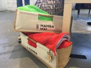 Nanga Mai towels in their eco-friendly packaging.