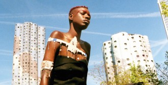 A model wears Alama jewellery made by Maasai women in Tanzania